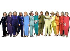 Her passion for pantsuits began in the early ' 90s, and since she's treated the American political scene to a stylish parade of rainbow-hued suits. Description from eonline.com. I searched for this on bing.com/images