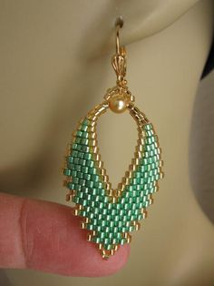 Seed Bead Russian Leaf Earrings - Mint Green.