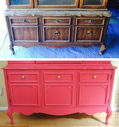 Hardware for the china cabinet makeover before & after