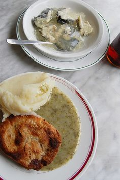 Pie and mash at Cooke's in London.    Pie and mash is a traditional London working class food. Pie, mash and stewed eels shops have been in London since the 19th century and are still common in south and east London, in many parts of Essex and in place
