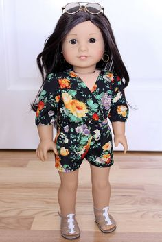 c6f55282aa92 Fall Floral Romper for American Girl Doll or 18 by ClarissesCloset American  Girl Diy