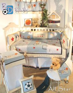 This cute sport baby boy set is one of Brandee Danielle top sellers. All Star Sports Theme Bedding Accessories