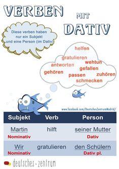 Verben mit Dativ Deutsch Wortschatz Grammatik German Alemán DAF Vocabulario