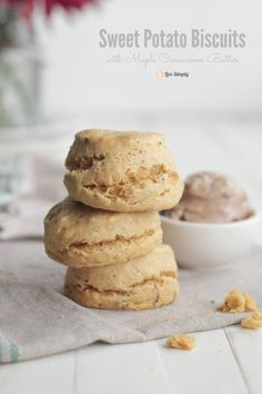Whole grain sweet potato biscuits with fresh cinnamon maple butter make the perfect treat anytime of the year!