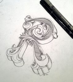 Typography hand Drawing initial letter R by Rolf Dingerink.  designbyrolf.nl