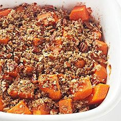 Searching for sweet potato recipes that go beyond candied sweet potatoes? Try this easy sweet potato recipe that's roasted in a baking dish, then sprinkled with a nutty streusel topping.