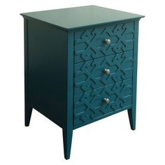 Threshold™ Fretwork Accent Table. Also comes in gray. $80 at Target. Maybe paint the detailing white?