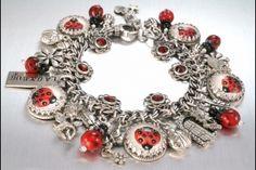 Silver Charm Bracelet & lady bugs, too!