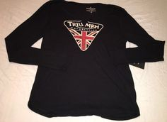 TRIUMPH Shirt Size XL Lucky Brand Black Motorcycle British New Long Sleeve