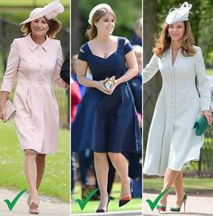 Who shone: Pippa's mother Carole (left) wore a similar sky blue number at the Royal Wedding in 2011. Princess Eugenie (centre) kept it simple in an on-trend navy dress and Jane Matthews the mother of the groom's eau de nil coat dress showed off her St Barths tan