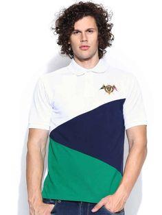 Dream of Glory Inc. White Colourblocked Polo T-shirt