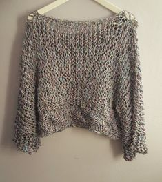 Oversized loose knitted sweater. Hand knitted loose knitterd
