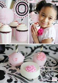 TiTi's TuTu's Tulle cupcake toppers styled by http://soiree-eventdesign.com for HWTM  (cupcake wrappers by Hoopla Events & gorgeous cake pops & chocolate covered oreos by Roni's Sugar Creations)