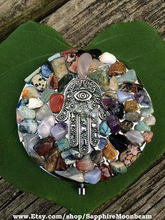Magic Mirror Compact Multi Gemstone Mosaic by SapphireMoonbeam, $38.00