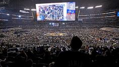 NBA ALL-STAR Arlington Texas. The 2010 allstar game went down in history for the most people to ever watch a basketball game in 108,713 in the Dallas Cowboy stadium. the stadium is also the home to the biggest HD TV screen in the world