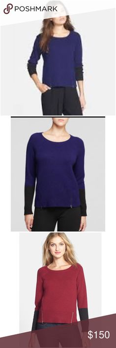 💗Eileen Fisher aquamarine color block zip sweater Size PM. Petite medium. Colorblock zip sweater in aquamarine. Zipper detailing at hem. 50% yak, 50% wool. EUC $298  💟Fast 1-2 day shipping 💟Reasonable offers accepted 💟Purchase 3 or more items & get a special bundle rate!  💟Smoke-free home Eileen Fisher Sweaters Crew & Scoop Necks