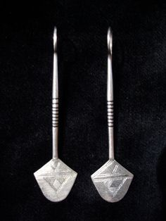 Moroccan Tuareg silver and ebony earrings by HilarysBazaar on Etsy, $48.00