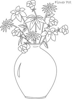 Big And Round Flower Vase Coloring Page : Coloring Sky Embroidery Hearts, Embroidery Flowers Pattern, Flower Patterns, Flower Designs, Flower Vases, Flower Pots, Flower Vase Drawing, Disney Character Drawings, Big Vases