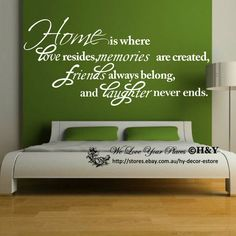 Home IS Where Love Resides Friends Memories Wall Quote Decal Vinyl Sticker | eBay