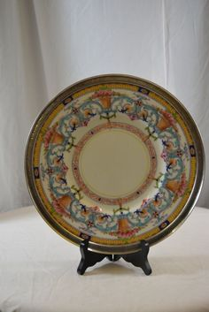 Royal Worcester England Dinner Plate with Sterling Silver Rim