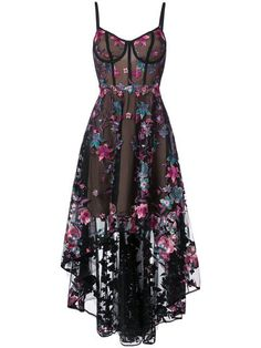 Shop Marchesa Notte floral embroidered high-low dress.
