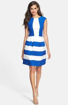 Gabby Skye Ruched Colorblock Knit Fit & Flare Dress available at #Nordstrom