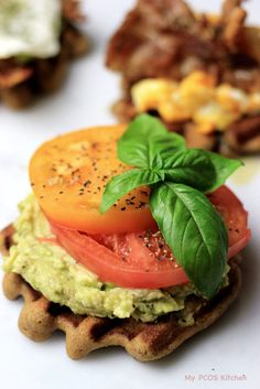 These gluten-free and dairy-free waffles are topped with delicious avocado and tomatoes, or bacon and eggs!