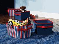 Bins for toys stored on the bookshelf - infant & toddler