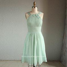 flower hater neck mint green short chiffon bridesmaid dress