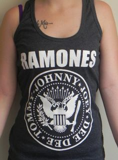 Ramones American Garage Punk Rock Band Tank Top Tee Grey Cotton Hand Ink Screen Printed Tee T shirt via Etsy.
