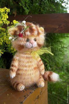 Купить Котенок Июнь - оранжевый, котенок из шерсти, подарок женщине, подарок девушке, подарок подруге