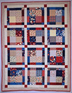 Disappearing 9 patch, with sashing and corner-stones