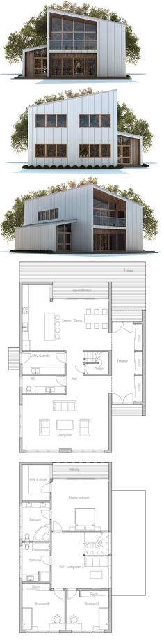 House Plans in Modern Architecture. Contemporary House Plans, Modern House Plans, House Floor Plans, Architecture Design, Simple House Plans, Modern Mansion, Sims House, Small House Design, House Roof