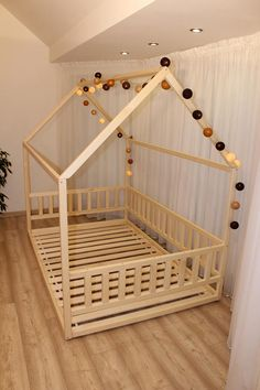 Toddler house bed Montessori floor bed teepee bed kid bed wood bed children home waldorf toy children bed kids bedroom floor bed Toddler Floor Bed, Toddler House Bed, Toddler Rooms, Kids House, Bedding Master Bedroom, Baby Bedroom, Kids Bedroom, Painted Bunk Beds, Teepee Bed