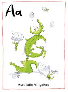 """""""Acrobatic alligators"""" by Fred Blunt Cute Animal Illustration, Family Illustration, Cute Animal Drawings, Illustration Art, Reptiles, Alphabet Drawing, Family Drawing, Water Animals, Cute Monsters"""