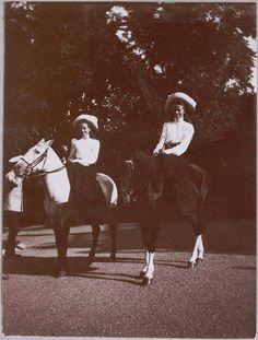 Grand Duchesses Tatiana and Olga Nikolaevna Romanova of Russia on horseback at Livadia in 1909.A♥W
