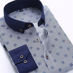 Men Dress Shirts, Casual Long Sleeved Printed Shirt, Slim Fit, Plus Size Shirt Collar Styles, Collar Shirts, Men's Shirts, Printed Shirts, Dress Shirt Sizes, Shirt Dress, Collar Dress, Summer Formal Dresses, Formal Shirts For Men