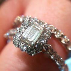 Christopher Designs Emerald Cut diamond ring with halo #engagement #emerald #christopherdesigns