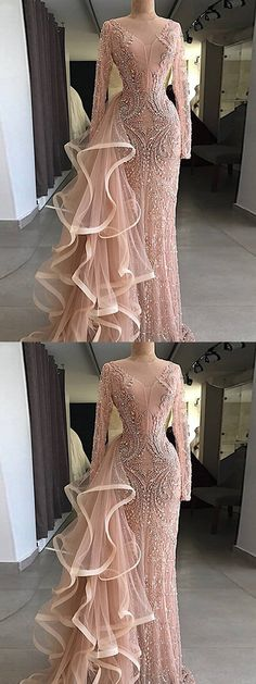 Prom Dresses Simple, Chic Pink Prom Dress Sheath Long Sleeve Prom Dress, A long dress makes an elegant statement at any formal event whether it is prom, a formal dance, or wedding. Prom Dresses Long With Sleeves, Pink Prom Dresses, Tulle Prom Dress, Cheap Prom Dresses, Dress Long, Pink Dress, Party Dresses, African Prom Dresses, Vintage Prom