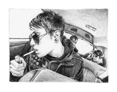 Frank Iero Drawing Print by EmmaCarrBandArt on Etsy