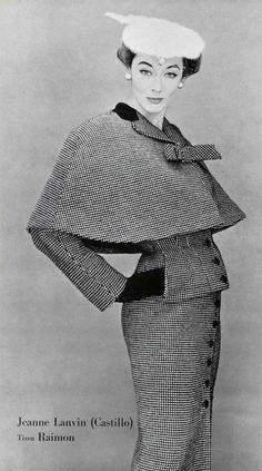Three-piece black and white check suit by Lanvin-Castillo, photo by Nicole Bukzin, 1953. #vintage #1950s #suits #elegance #fashion