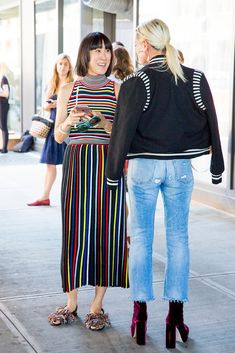 New York Fashion Week street style from outside the Rosie Assoulin show.