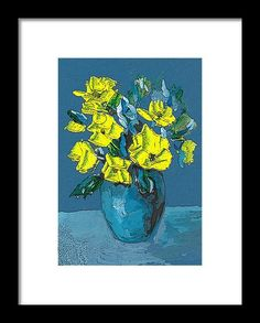 Yellow Framed Print featuring the painting Nice Yellow Flowers On Blue Background by Cuiava Laurentiu Canvas Prints, Framed Prints, Art Prints, Frame Shop, Blue Backgrounds, Wood Print, Yellow Flowers, Fine Art Photography, Clear Acrylic