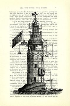 Lighthouse lighthouse decor lighthouse art on by MadameMemento