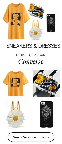 """""""#sunflower #yellow #aesthetic #converse #dress #graphictee"""" by cxld-wxrld on Polyvore featuring Converse, Charlotte Olympia and Fifth & Ninth"""