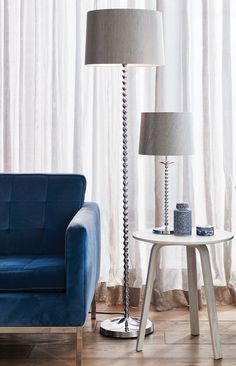 The Beacon Lighting Orleans chrome floor lamp with metallic silver shade