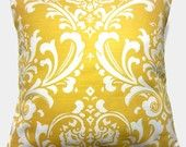Two Yellow White Pillow Covers Traditional Decorative 16 inch