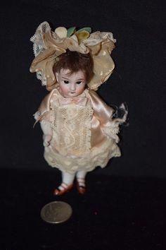 Antique Doll Mignonette Bisque French Market Dollhouse Miniature All Bisque