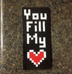 8 bit You Fill My Heart Perler Bead on Etsy, $5.00