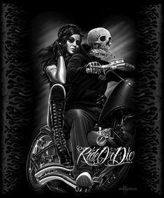 DGA David Gonzales Arte montar ou Morrer Biker Babe Tatuagem Chicano Cobertor Rainha